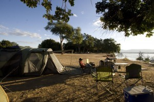 Campsite during the day. Can you believe an elephant walked between us sitting there and the water.